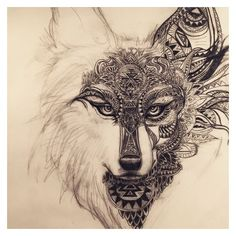 Working on this spirit animal wolf/fox design for a tattoo ❤ liked on Polyvore featuring accessories and body art