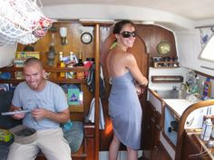 """Whether its on a sailboat, in a hotel room, an apartment, or a dorm room, most people will encounter """"living in small spaces"""" at […] Sailboat Living, Living On A Boat, Sailboat Restoration, Boat Organization, Liveaboard Sailboat, Sailing Catamaran, Sailing Ships, Small Sailboats, Boat Interior"""