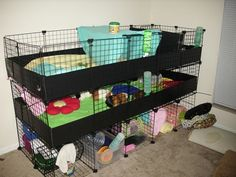 Reinforce a stacked c and c cage by adding extra grids for 2 story guinea pig cages for sale