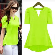 AUD11.06New Style Woman V Neck Short Sleeve Solid Yellow Blouse