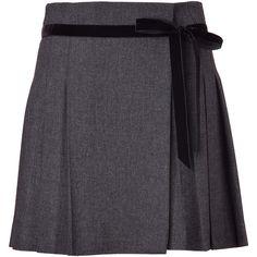 VALENTINO R.E.D. Charcoal Herringbone Skirt with Velvet Trim (€295) ❤ liked on Polyvore featuring skirts, mini skirts, bottoms, falda, short skirt, valentino, mini skirt, velvet skirt, red valentino skirt and charcoal skirt