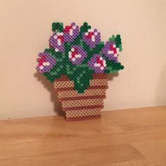 Perler Bead flowerpot for spring