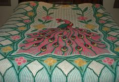 VINTAGE PEACOCK/FLOWERS CHENILLE BEDSPREAD CUTTER? ON GREEN 96x92