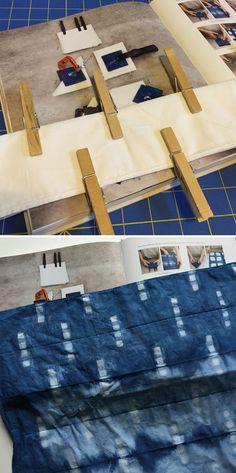 Shibori dye technique with clothespins Shibori Fabric, Shibori Tie Dye, Dyeing Fabric, Tie Dyed, Shibori Techniques, Tie Dye Techniques, Impression Textile, Indigo Dye, Japanese Fabric