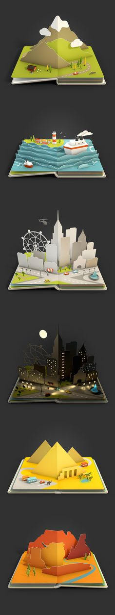 Creation of 9 animated pop-up book pages for the Air Pano iOS app. Arte Pop Up, Pop Up Art, Kirigami, Paper Design, Book Design, Cuento Pop Up, Paper Art, Paper Crafts, Foam Crafts