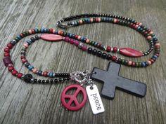 Tolle Bettelkette * Peace* Kreuz Schwarz Pink von Perlenzimmer auf DaWanda.com