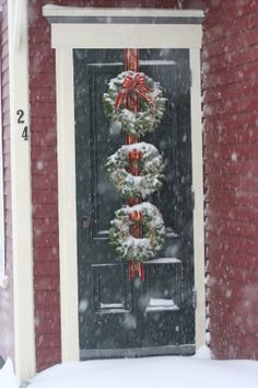 trio of wreaths christmas front doors christmas door decorations christmas wreaths halloween decorations
