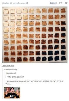 Because ART!! That's actually kinda cool, though I'm not sure why you'd want toast...on your wall...