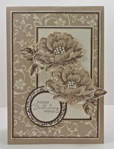 handmade birthday card ... monochromatic browns ... Stippled Blossoms ... layout design from Paper Players Sketch #105 ... like the sentiment on a layered circle medallion ... cute little pearls at flower centers ... great card!! ... Stampin' Up!