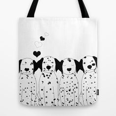 Dalmatian Dogs Tote Bag Personalized Color - Small Medium Large -  Cute Gift Women Girls Modern Beautiful Pets Spots Beach Book Black white