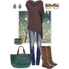 Have a long brown tunic sweater and skinny jeans - need pops of teal or another color and off tone color brown boots.