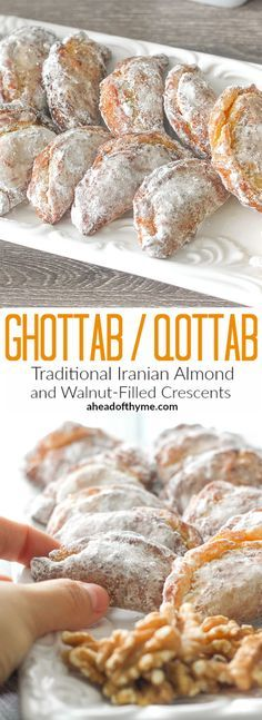 Ghotab / Qottab Pastry (Traditional Iranian Almond and Walnut-Filled Crescents)…