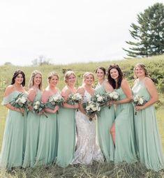 Gorgeous girl gang wearing mix and match Chiffon #bridesmaids in Sage 🌿✨