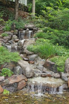 tips for rookie landscapers (and refresher for veterans) cascading-water-feature Waterfall Landscaping, Pond Waterfall, Pond Landscaping, Landscaping With Rocks, Backyard Stream, Backyard Water Feature, Ponds Backyard, Koi Ponds, Water Falls Backyard