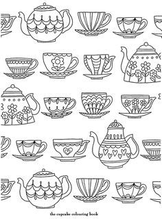 Adult Coloring Book Pages Teapot Sketch Coloring Page Adult Coloring Book Pages, Printable Coloring Pages, Colouring Pages, Coloring Books, Doodle Drawings, Doodle Art, Sketch Note, Buch Design, Digital Stamps