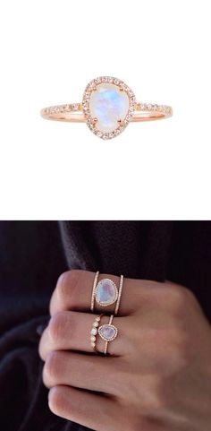 Moonstone and diamond wedding ring for the indie bride // Women in Weddings Weigh in on Engagement Rings