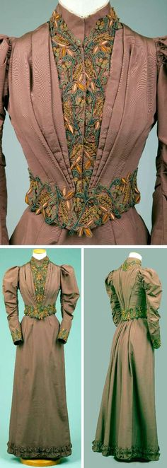 Brown faille bodice, ca. 1892-93, fitted w/many stays, fastens in front. Inverted folds of fabric at side front & back. Two-piece sleeves w/puffing at top. Braid trimming at front & lower edge, neckline & sleeves. Slight point at lower edge front & back. Heavy sateen lining. Brown faille gored skirt is flat in front, slightly shaped over hips w/some fullness in back. Trimming of bias ruffles edged w/bias binding & shirred in center. Goldstein Museum of Design, Univ. of Minnesota