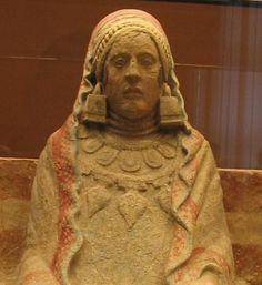 The Lady of Baza is a famous example of Iberian sculpture by the Bastetani. It is a limestone female figure with traces of painted detail in a stuccoed surface that was found on July 22, 1971.