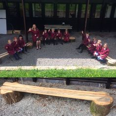 Yr3 trying out the new sustainable furniture in our outdoor art space. It has been made from recycled timber and tree butts from a tree felled at the senior school. The wall that they are facing is where our outdoor mosaic will be! #outdoorart