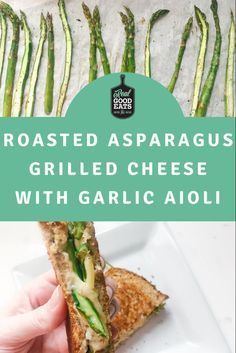 This Roasted Asparagus Grilled Cheese with Garlic Aioli has everything you love about grilled cheese but is boosted with veggies and delicious garlic aioli. Perfect for a work-from-home lunch or easy weeknight dinner. #lunchideas #lunchrecipe #dinnerideas #easyrecipe #healthyrecipe #grilledcheese #asparagus Wrap Recipes, Lunch Recipes, Healthy Dinner Recipes, Vegetarian Recipes, Healthy Weeknight Dinners, Easy Meals, Meal Ideas, Dinner Ideas, Garlic Aioli
