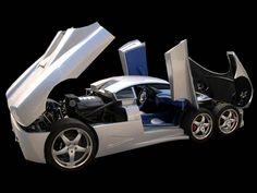 Der Covini C6W in silber mit geöffneten Türen und Motorhaube