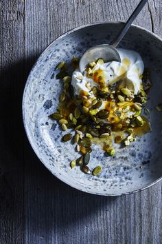 Yogurt with seeds, passion fruit, pistachios, manuka honey and black salt from Hungary Ghost