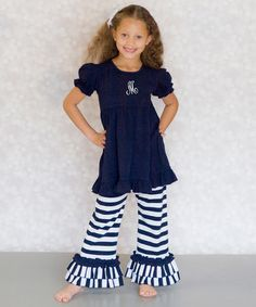 This Navy & White Initial Ruffle Top & Pants - Infant, Toddler & Girls is perfect! #zulilyfinds