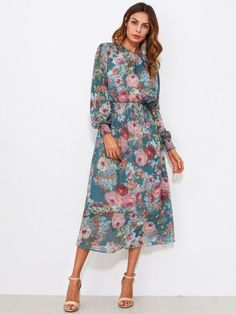 Shop Calico Print Shirred Waist Dress With Liner Slip Dress online. SheIn offers Calico Print Shirred Waist Dress With Liner Slip Dress & more to fit your fashionable needs. Fit N Flare Dress, Blue Midi Dress, Floral Midi Dress, Floral Dresses, Floral Chiffon, Chifon Dress, Oversize Look, Dress Outfits, Summer Dresses