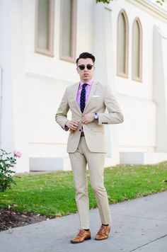 Pink gingham + tan suit