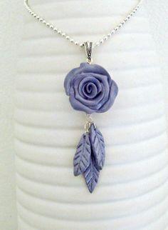 Handmade Women Necklace - Lavender Rose Pendant - Polymer Clay Necklace - Purple Violet Necklace by LaPreciozaJewelry