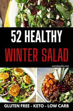 Don't let the more limited produce offerings in the winter stop you from enjoying salads! It is time to get creative. These delicious winter salads highlight the best the season has to offer - from winter root vegetables to seasonal fruits. Gluten Free Recipes For Dinner, Healthy Gluten Free Recipes, Healthy Salad Recipes, Roasted Cauliflower Salad, Roasted Beet Salad, Brussel Sprout Salad, Sprouts Salad, Winter Root Vegetables, Vegan Main Course
