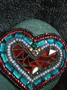 Mosaic Rock of Love by Moonjewelsandmosaics on Etsy, $35.00