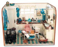 Antique Miniature Room Box: The Kitchen Vitrine Miniature, Miniature Rooms, Miniature Kitchen, Miniature Furniture, Doll Furniture, Dollhouse Furniture, German Kitchen, Mini Kitchen, Toy Kitchen