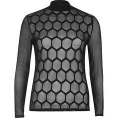 Black hexagonal mesh turtleneck top - blouses - tops - women