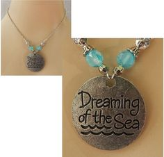 "Silver ""Dreaming of The Sea"" Pendant Necklace Jewelry Handmade NEW Chain  #Handmade #Pendant"