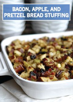 Holiday stuffing is a fun way to add layers of delicious flavors to your Christmas dinner turkey. Give this Bacon, Apple, and Pretzel Bread Stuffing recipe from Inspired Gathering a try. It's a little bit sweet, a little bit salty, and oh-so savory.