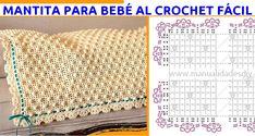 Mantita para Bebé al Crochet Fácil ⋆ Manualidades Y DIYManualidades Y DIY Crochet Square Blanket, Crochet Squares, Crochet Baby, Knitting, Matilda, Diy, Crocheted Afghans, Rugs, Molde