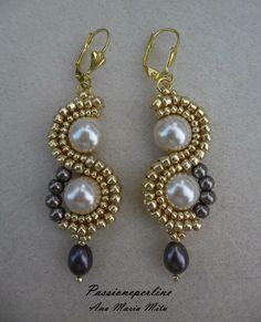Beaded Jewelry Designs, Bead Jewellery, Jewelry Patterns, Wire Jewelry, Handmade Jewelry, Seed Bead Earrings, Beaded Earrings, Diy Jewelry Inspiration, Swarovski Pearls