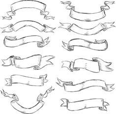 Hand drawn vintage ribbon benner vector 07