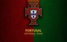 Download imagens Portugal equipa de futebol nacional, 4k, textura de couro, brasão de armas, emblema, logo, futebol, Portugal