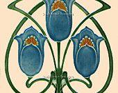 Gloss Ceramic Tile - Vintage Art Nouveau Reproduction Tile - Full Floral design - Various Sizes
