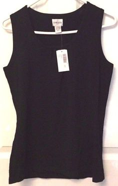 Chicos Erin Sleeveless Tank Black Knit Size 0 Gathered Scoop Neck NWT  #Chicos #TankCami #DressyorCasual