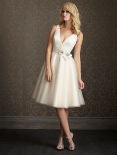 2012 Exclusive Bridal by Allure - Ivory Tulle V Neck Tea Length Vintage Style Wedding Dress
