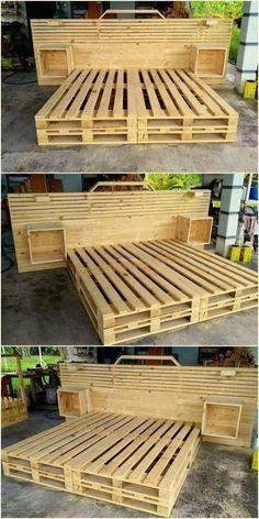 Wooden Pallet Furniture 48 Creative DIY Pallet Projects and Pallet Furniture Designs Diy Pallet Bed, Wooden Pallet Projects, Wooden Pallet Furniture, Wood Pallets, Pallet Couch, Pallet Patio, Outdoor Furniture, Pallet Bed Frames, Outdoor Pallet
