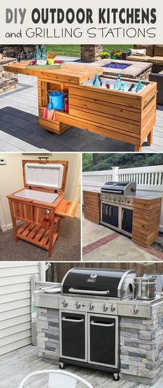 - DIY Outdoor Grill Stations & Kitchens Lots of great ideas and tutorials showing you how to DIY your own built-in BBQ, grilling station or full on outdoor kitchen! Outdoor Kitchen Grill, Outdoor Grill Station, Outdoor Kitchen Design, Outdoor Cooking, Outdoor Kitchens, Deck Kitchen Ideas, Simple Outdoor Kitchen, Outdoor Grill Area, Grill Diy
