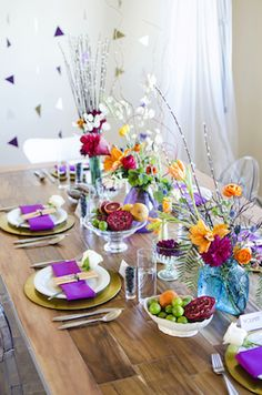 Modern and colorful tablescape | Green Blossom Photography | see more on: http://burnettsboards.com/2014/03/hunger-games-capitol-city-citizen-wedding/