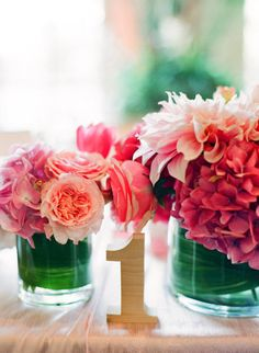 dahlias, roses and hydrangea