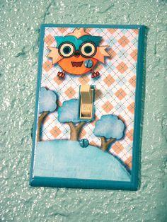 Kids Owl Nursery Light Switch Plate Cover Hand by ApplewoodKnoll, $20.00