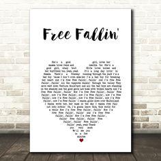 John Mayer Free Fallin' White Heart Song Lyric Art Print