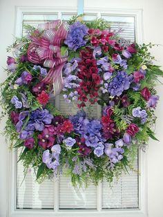 Summer Wreath Spring Front Door Decoration Purple by PetalsNPicks